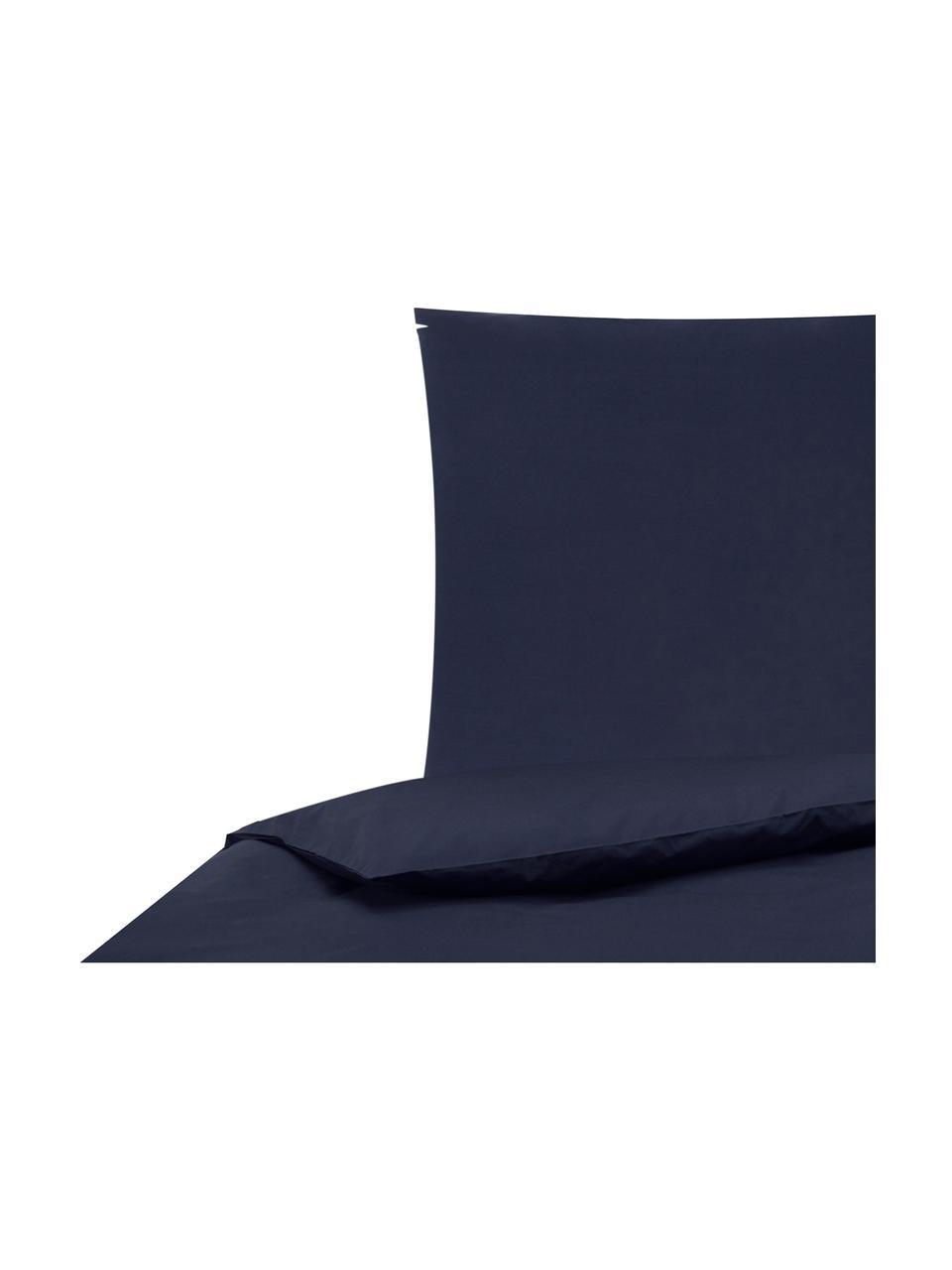 Housse de couette en percale Elsie, Bleu foncé