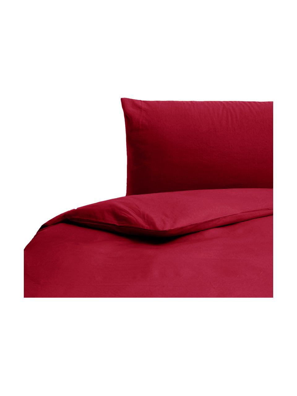 Parure copripiumino in cotone effetto stone washed Velle, Tessuto: cotone ranforce, Fronte e retro: rosso rubino, 155 x 200 cm + 1 federa 50 x 80 cm