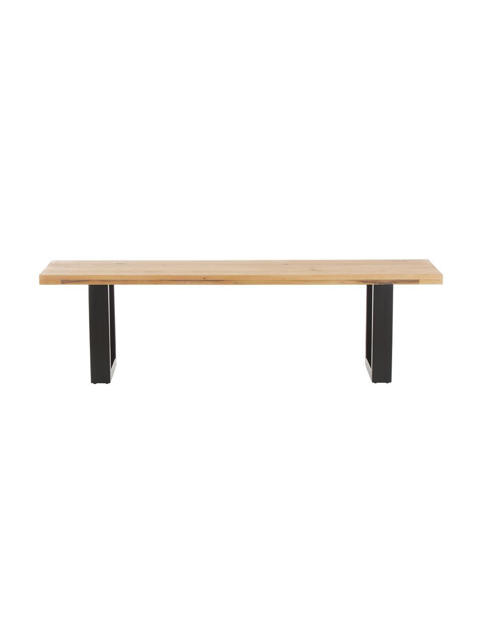 Panca in legno di quercia Oliver, Seduta: doghe di quercia selvatic, Gambe: metallo verniciato a polv, Quercia selvatica, Larg. 160 x Alt. 45 cm