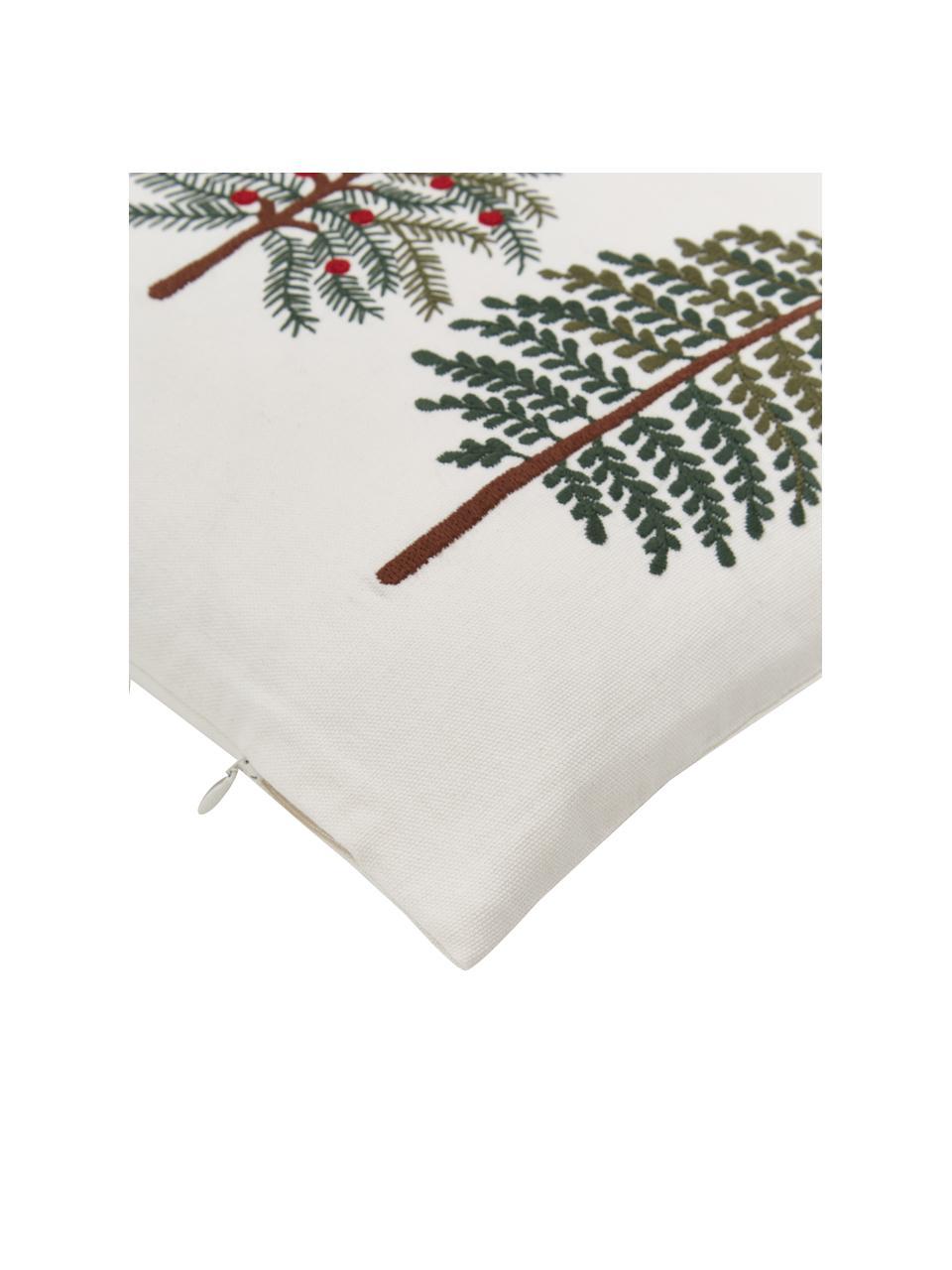 Bestickte Kissenhülle Fenna mit winterlichem Motiv, 100% Baumwolle, Mehrfarbig, 30 x 50 cm