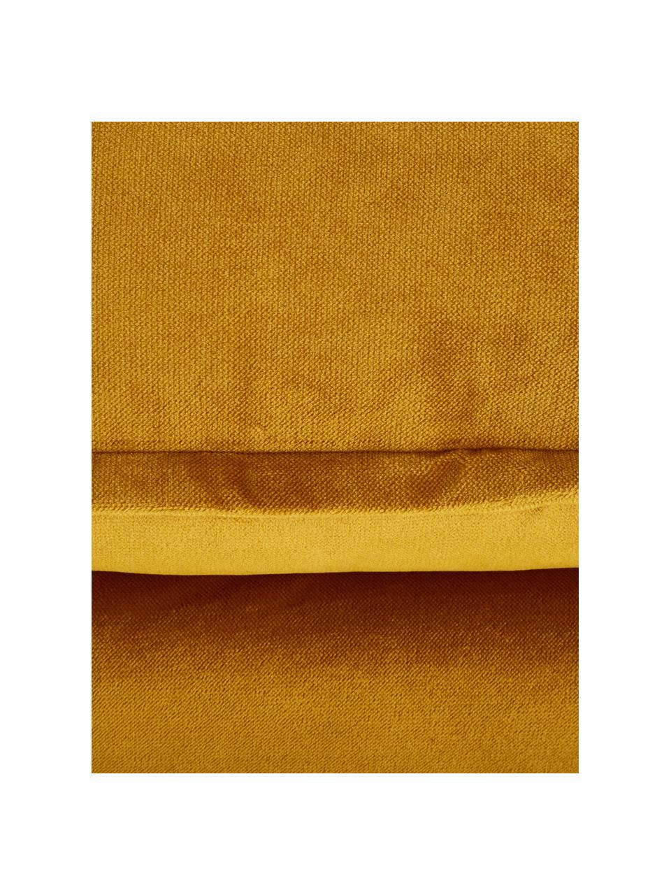 Fluwelen bank Retro (2-zits) in geel met metalen poten, Bekleding: polyester fluweel, Frame: MDF, houtvezelplaat, Poten: gepoedercoat metaal, Fluweel okergeel, B 175 x D 83 cm