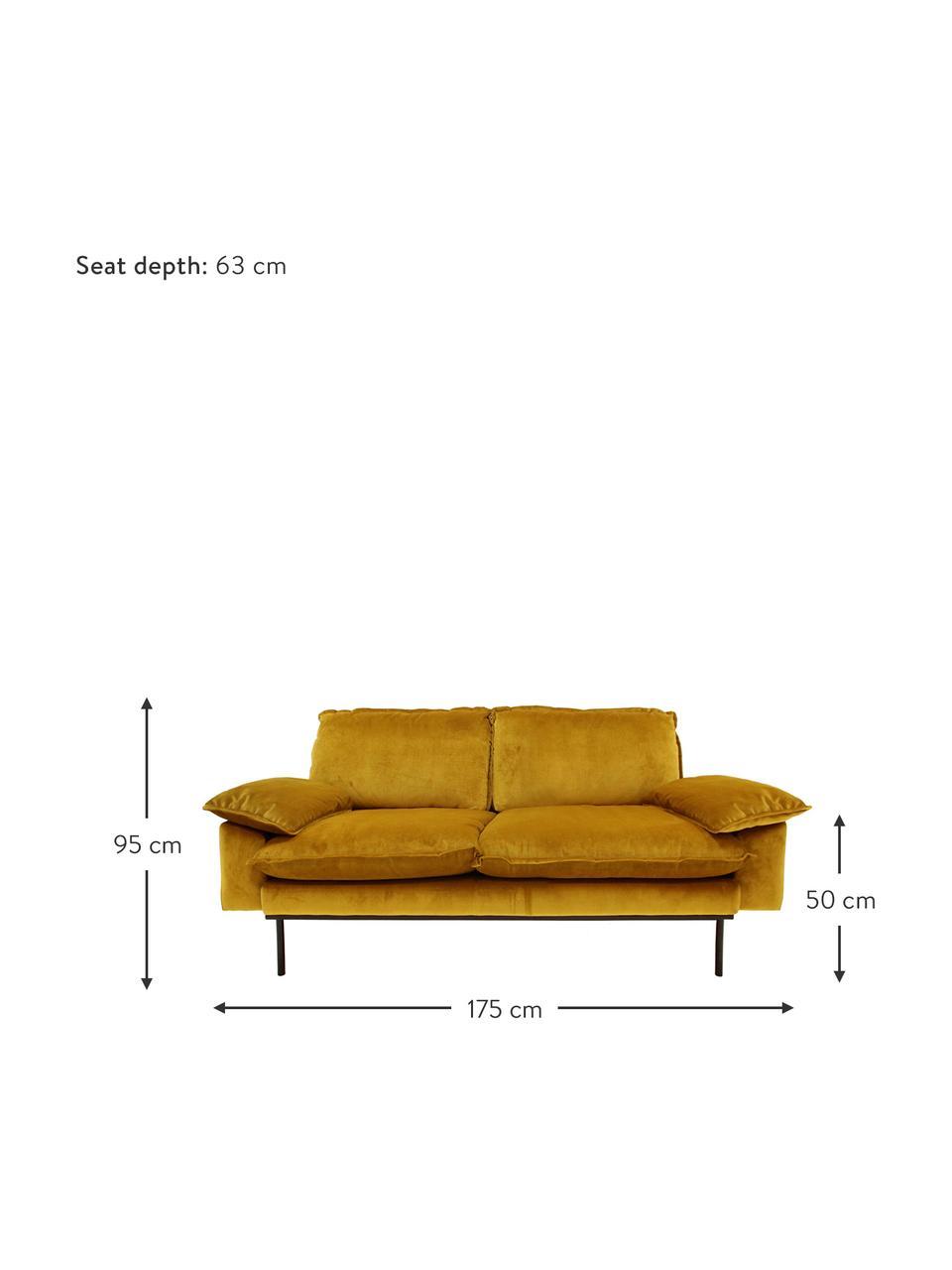 Samt-Sofa Retro (2-Sitzer) in Gelb mit Metall-Füßen, Bezug: Polyestersamt 86.000 Sche, Korpus: Mitteldichte Holzfaserpla, Füße: Metall, pulverbeschichtet, Samt Ocker, B 175 x T 83 cm