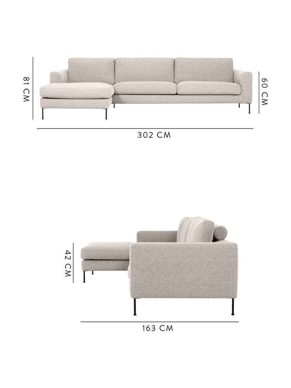 Sofa narożna z metalowymi nogami Cucita (4-osobowa), Tapicerka: aksamit (wysokiej jakości, Stelaż: lite drewno sosnowe, Nogi: metal malowany proszkowo, Beżowy, S 302 x G 163 cm