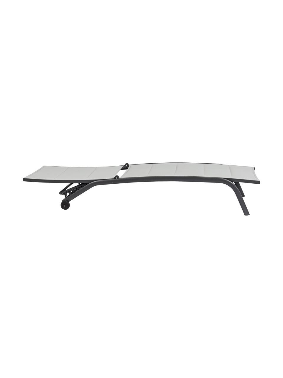 Leżak ogrodowy Cleopas, Tapicerka: 100% poliester, Stelaż: aluminium, malowane prosz, Antracytowy, D 192 x S 61 cm