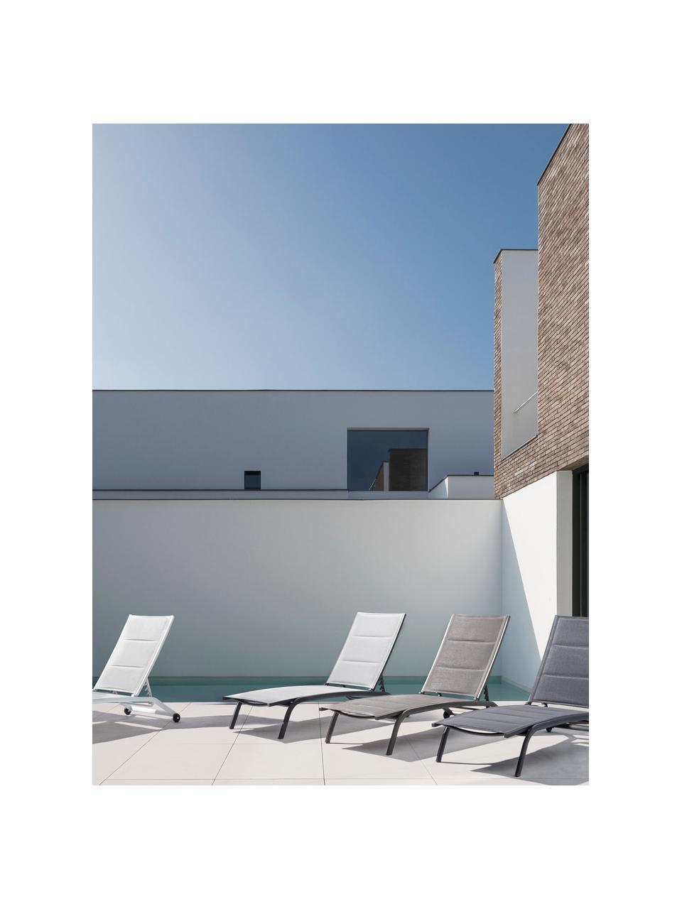 Zonnebed Cleopas, Bekleding: 100% polyester, Frame: gepoedercoat aluminium, Wieltjes: kunststof, Antraciet, 61 x 192 cm