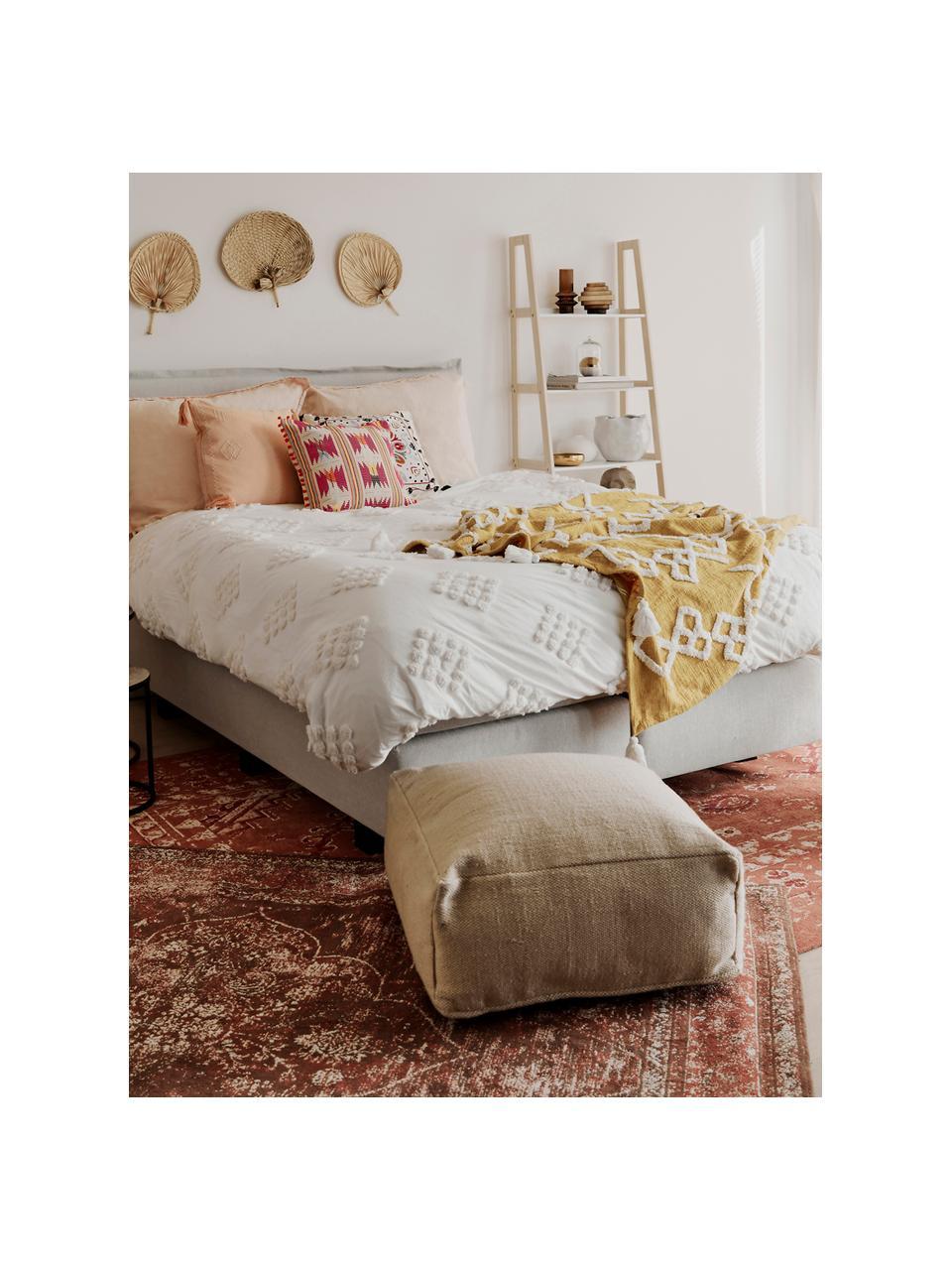 Vloerkussen Khela voor binnen en buiten, Bekleding: 100% gerecycled polyester, Beige, 60 x 25 cm