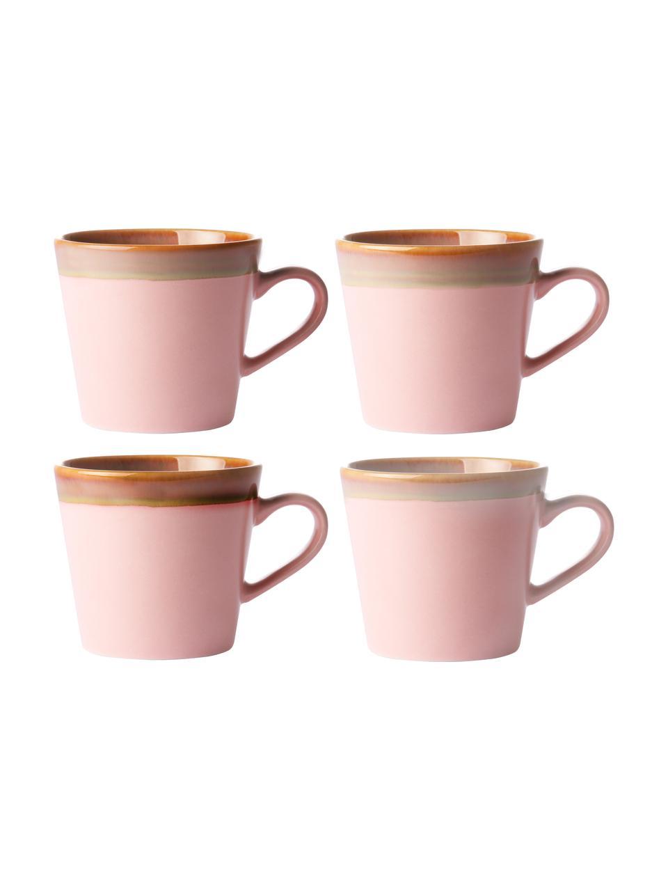 Handgemaakte cappucino mokken 70's in retro stijl, 4 stuks, Keramiek, Roze, beige, Ø 12 x H 9 cm