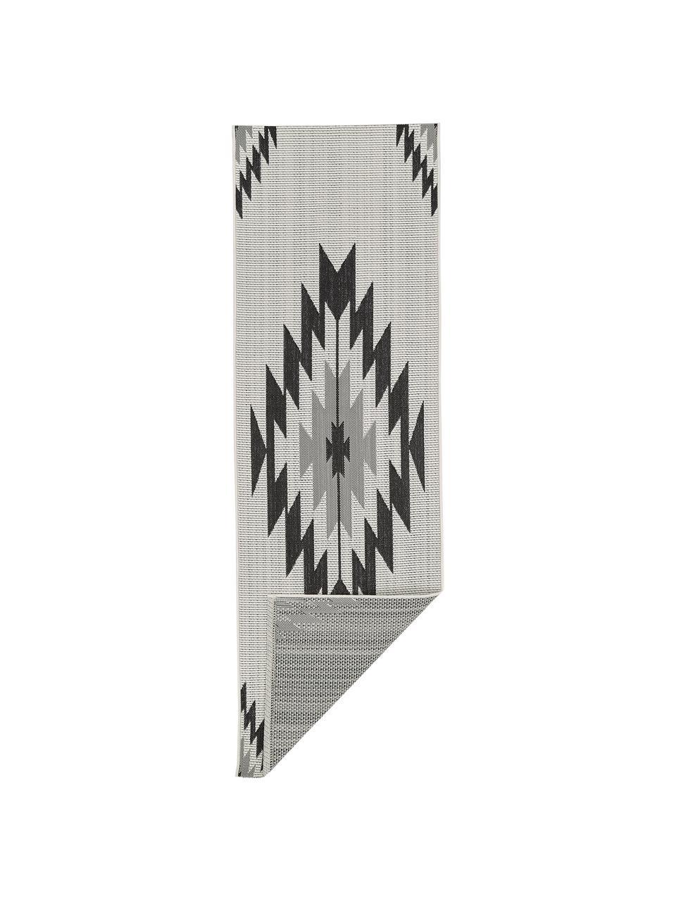 Chodnik wewnętrzny/zewnętrzny w stylu etno Ikat, 86% polipropylen, 14% poliester, Kremowobiały, czarny, szary, S 80 x D 250 cm