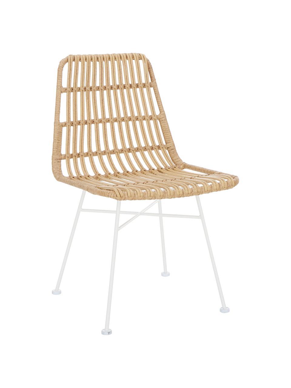 Sedia intrecciata Costa 2 pz, Seduta: intreccio in polietilene, Struttura: metallo verniciato a polv, Marrone chiaro Gambe: bianco, Larg. 47 x Prof. 61 cm