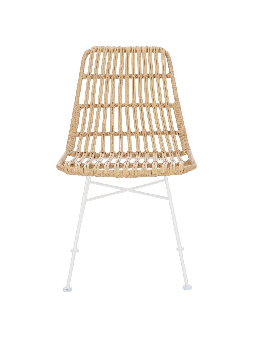 Polyratanová židle Costa, 2 ks, Světle hnědá Nohy: bílá