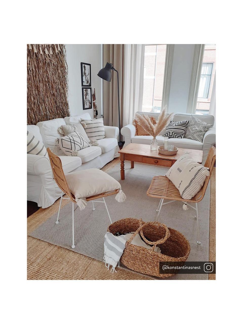 Polyrotan stoelen Costa, 2 stuks, Zitvlak: polyethyleen-vlechtwerk, Frame: gepoedercoat metaal, Lichtbruin, wit, B 47 x D 61 cm