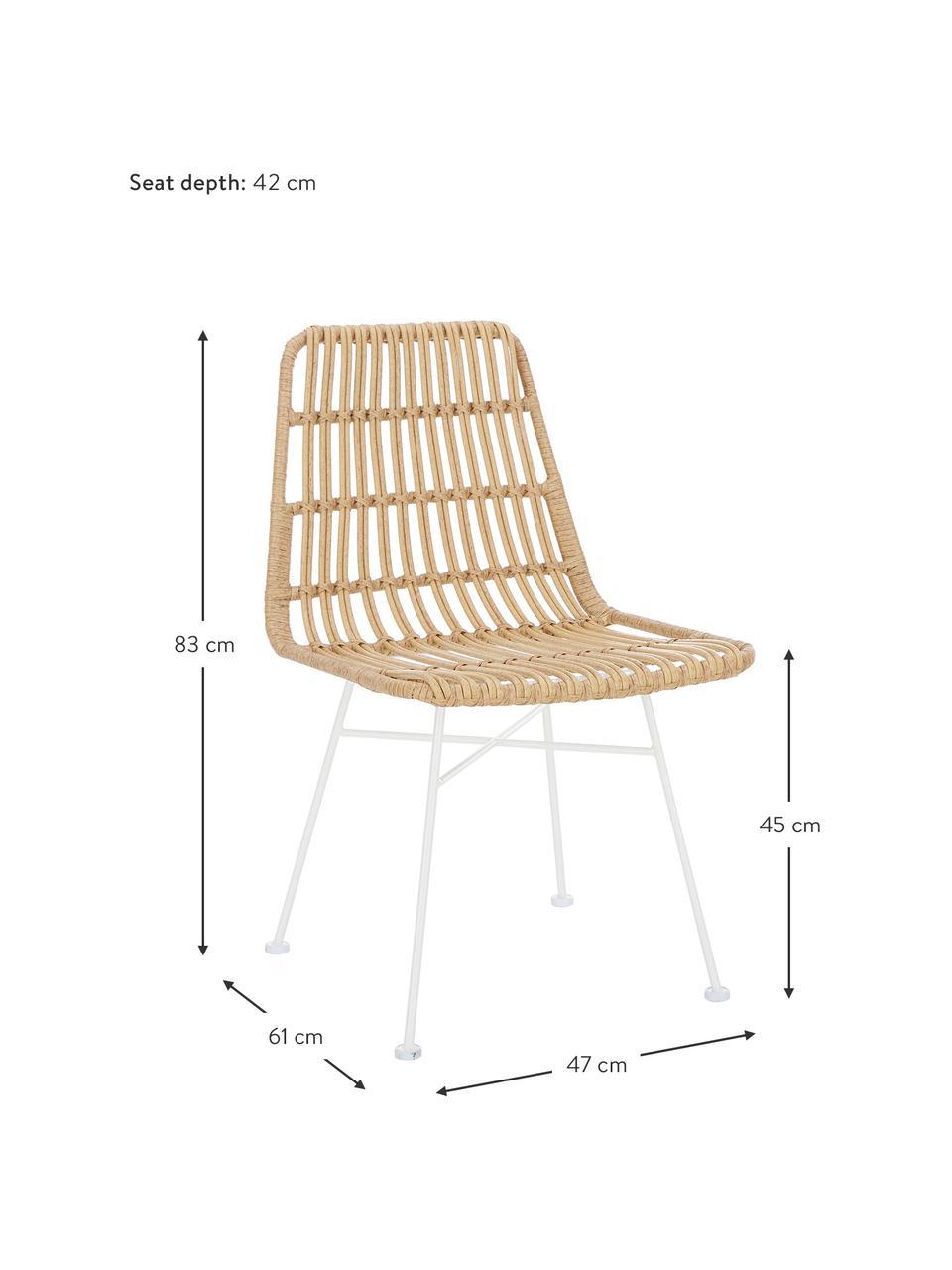 Krzesło z polirattanu Costa, 2 szt., Stelaż: metal malowany proszkowo, Jasny brązowy, biały, S 47 x G 61 cm