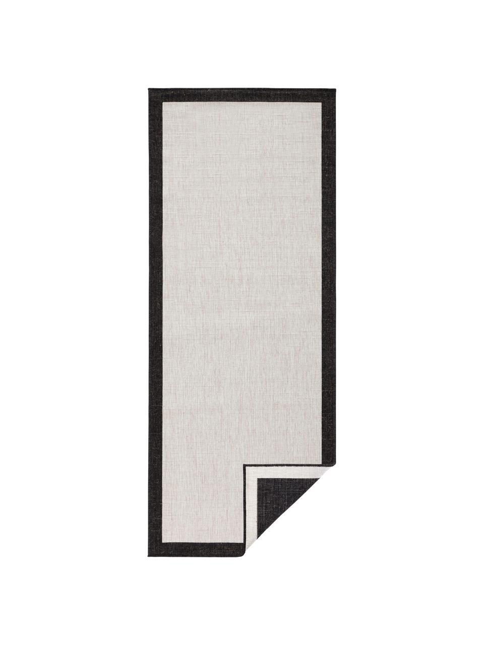 Dubbelzijdige in- & outdoor loper Panama in zwart/crèmekleur, 100% polypropyleen, Zwart, crèmekleurig, 80 x 250 cm