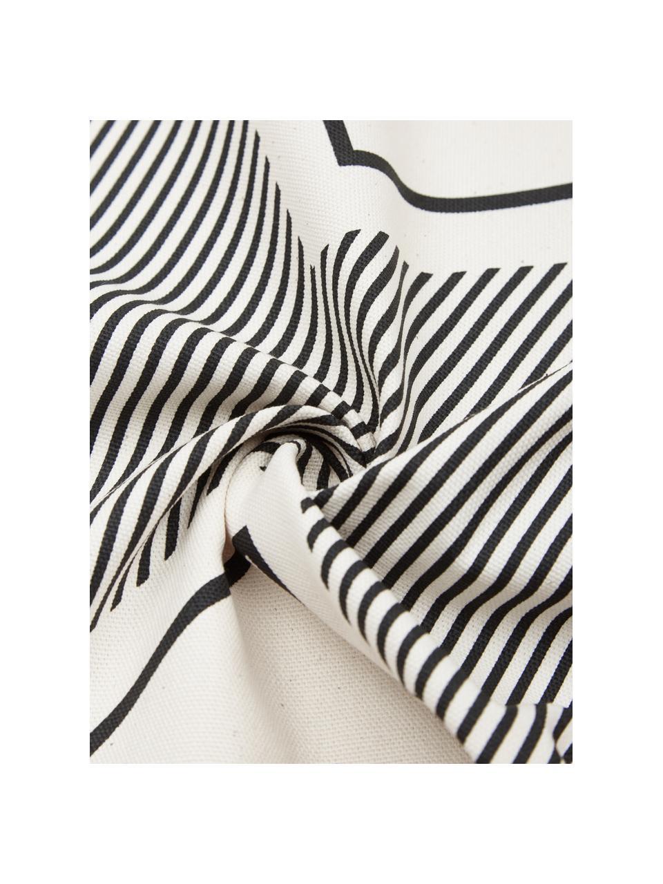 Boho-Kissenhülle Indy in Cremeweiß/Schwarz, 100% Baumwolle, Weiß, Schwarz, 45 x 45 cm