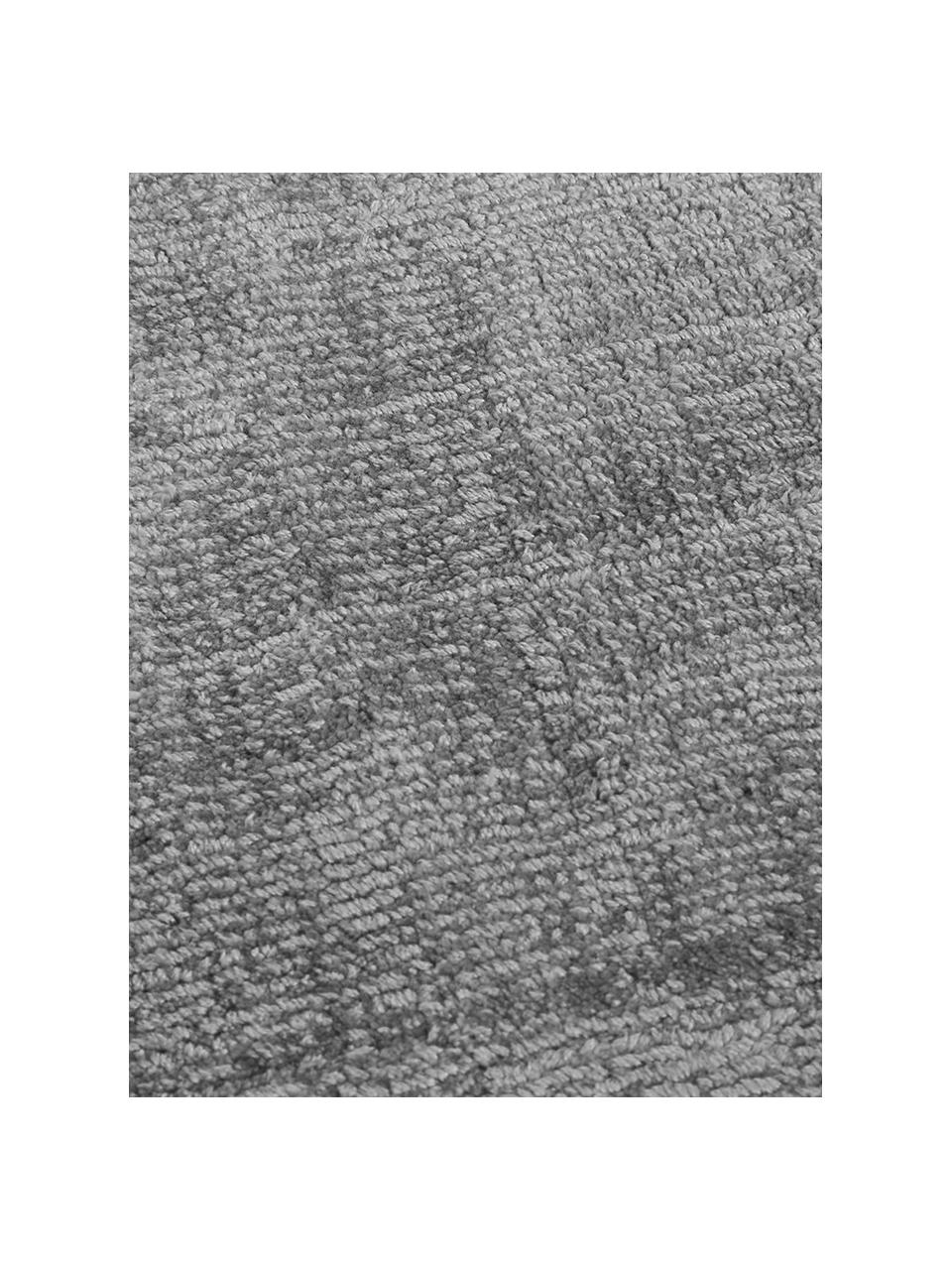 Runder Viskoseteppich Jane in Grau, handgewebt, Flor: 100% Viskose, Grau, Ø 200 cm (Größe L)