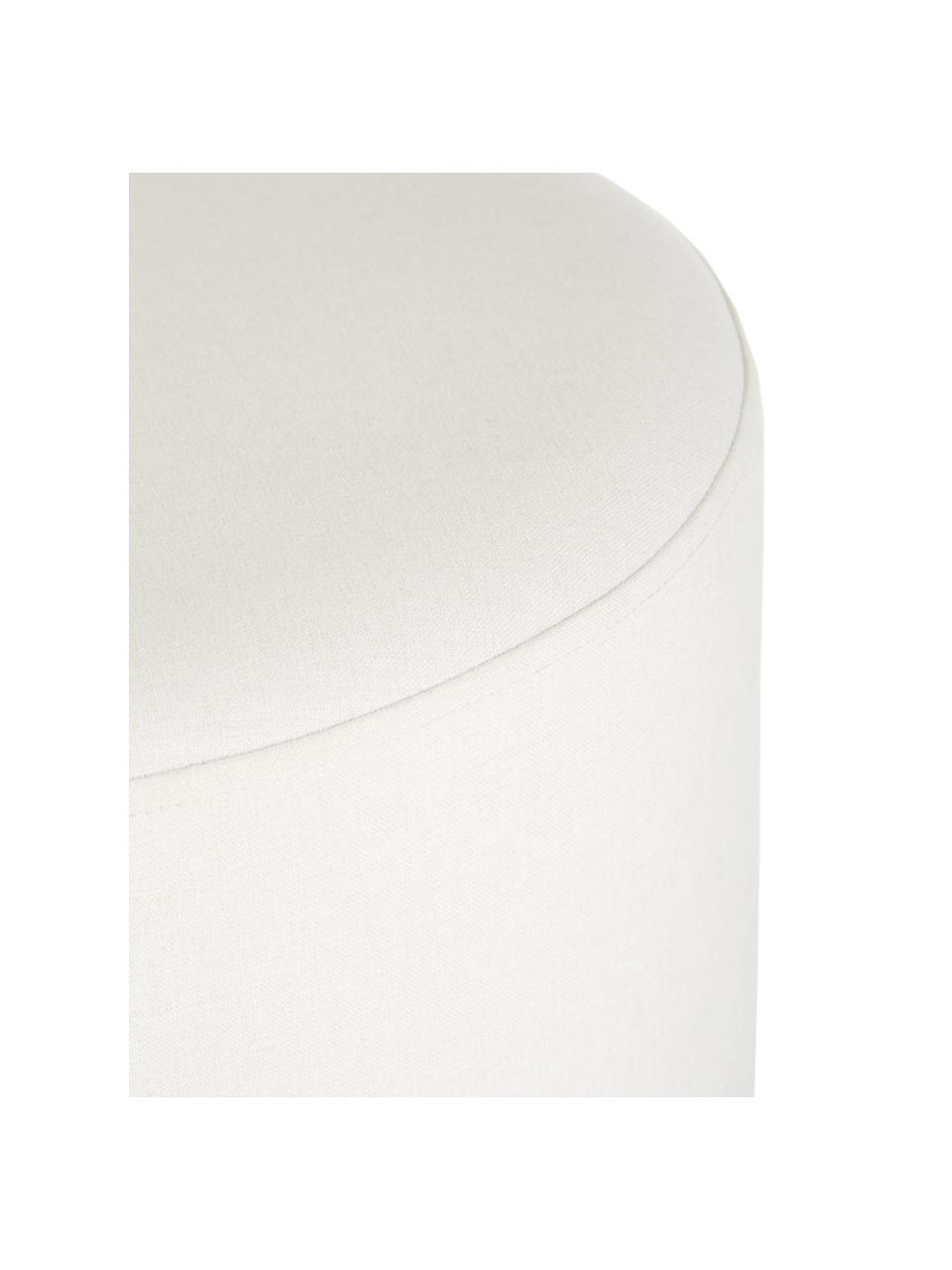 Pouf bianco crema Daisy, Rivestimento: 100% poliestere Il rivest, Struttura: compensato, Bianco, Ø 38 x Alt. 45 cm