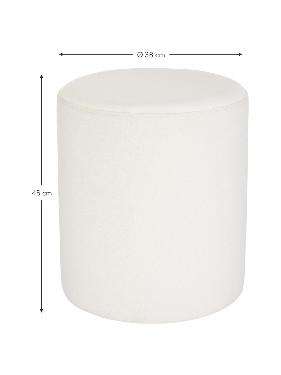 Hocker Daisy in Cremeweiß, Bezug: 100% Polyester Der hochwe, Rahmen: Sperrholz, Webstoff Weiß, Ø 38 x H 45 cm