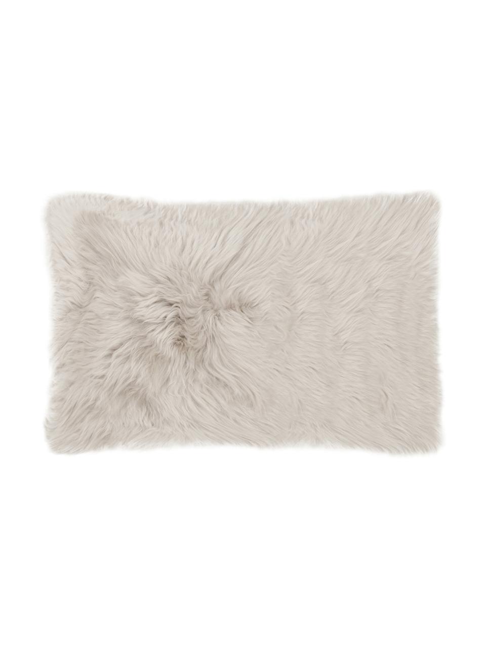 Schaffell-Kissenhülle Oslo in Beige, glatt, Vorderseite: 100% Schaffell, Rückseite: Leinen, Beige, 30 x 50 cm