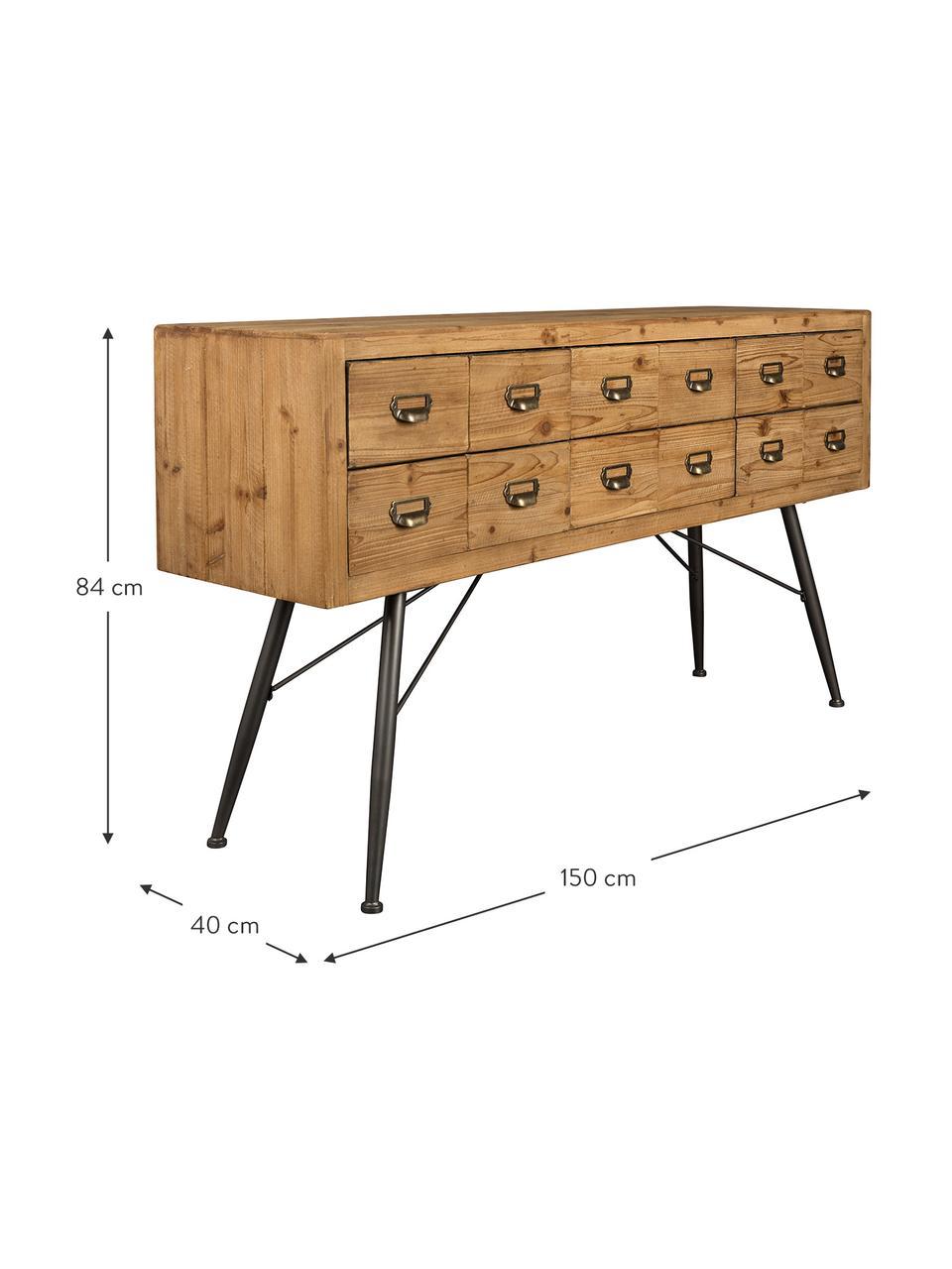 Apotheker dressoir Six met lades, Poten: gelakt ijzer, Handvatten: ijzer, antieke afwerking, Dennenhoutkleurig, antraciet, 150 x 84 cm