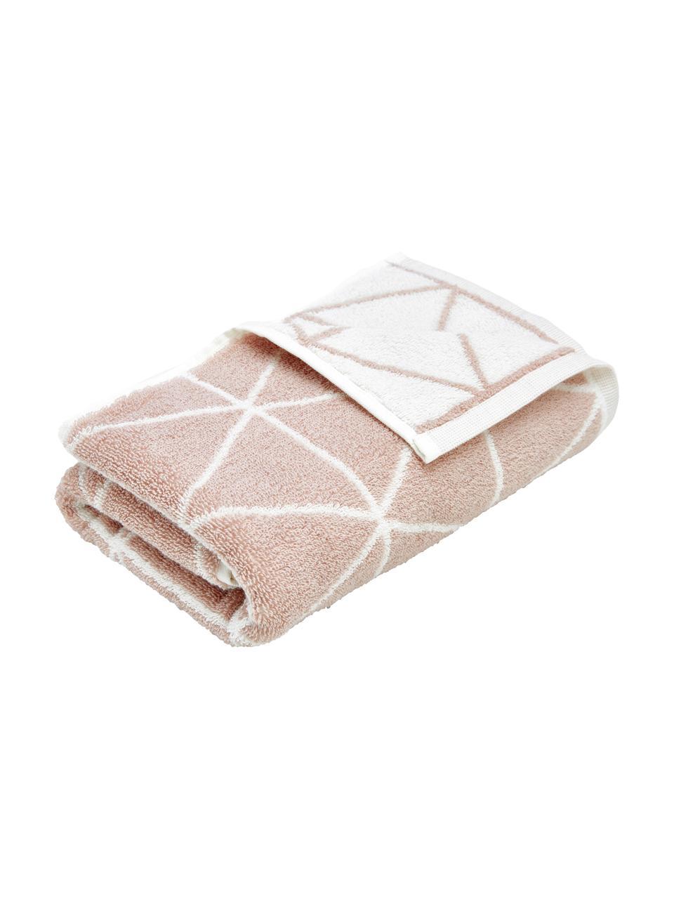 Serviette de toilette réversible en coton pur Elina, Rose, blanc crème