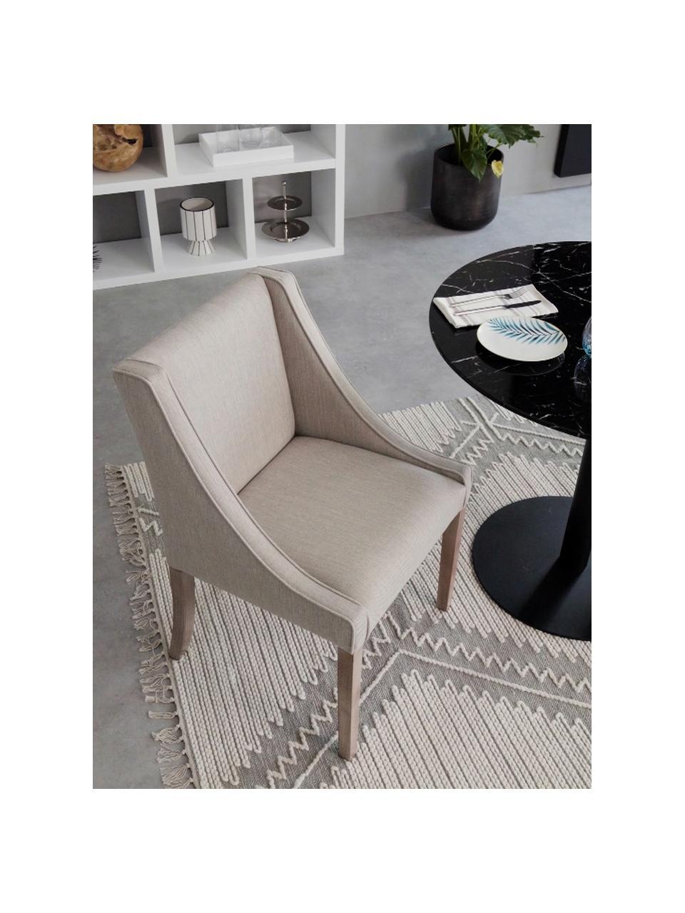Gestoffeerde stoel Savannah, Bekleding: polyester, Poten: gelakt massief beukenhout, Geweven stof beige. Poten beukenhoutkleurig, B 60 x D 60 cm
