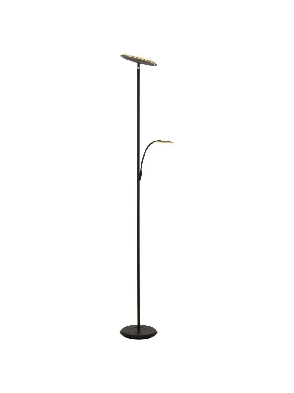 Grote dimbare LED vloerlamp Stockholm met leeslamp, Lampenkap: acryl, Lampvoet: gecoat metaal, Zwart, 50 x 184 cm