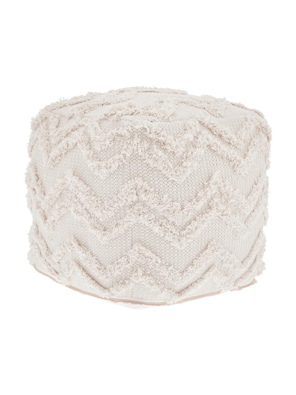 Handgetufteter Boho-Pouf Akesha in Cremeweiß, Bezug: Baumwolle, Weiß, 45 x 45 cm