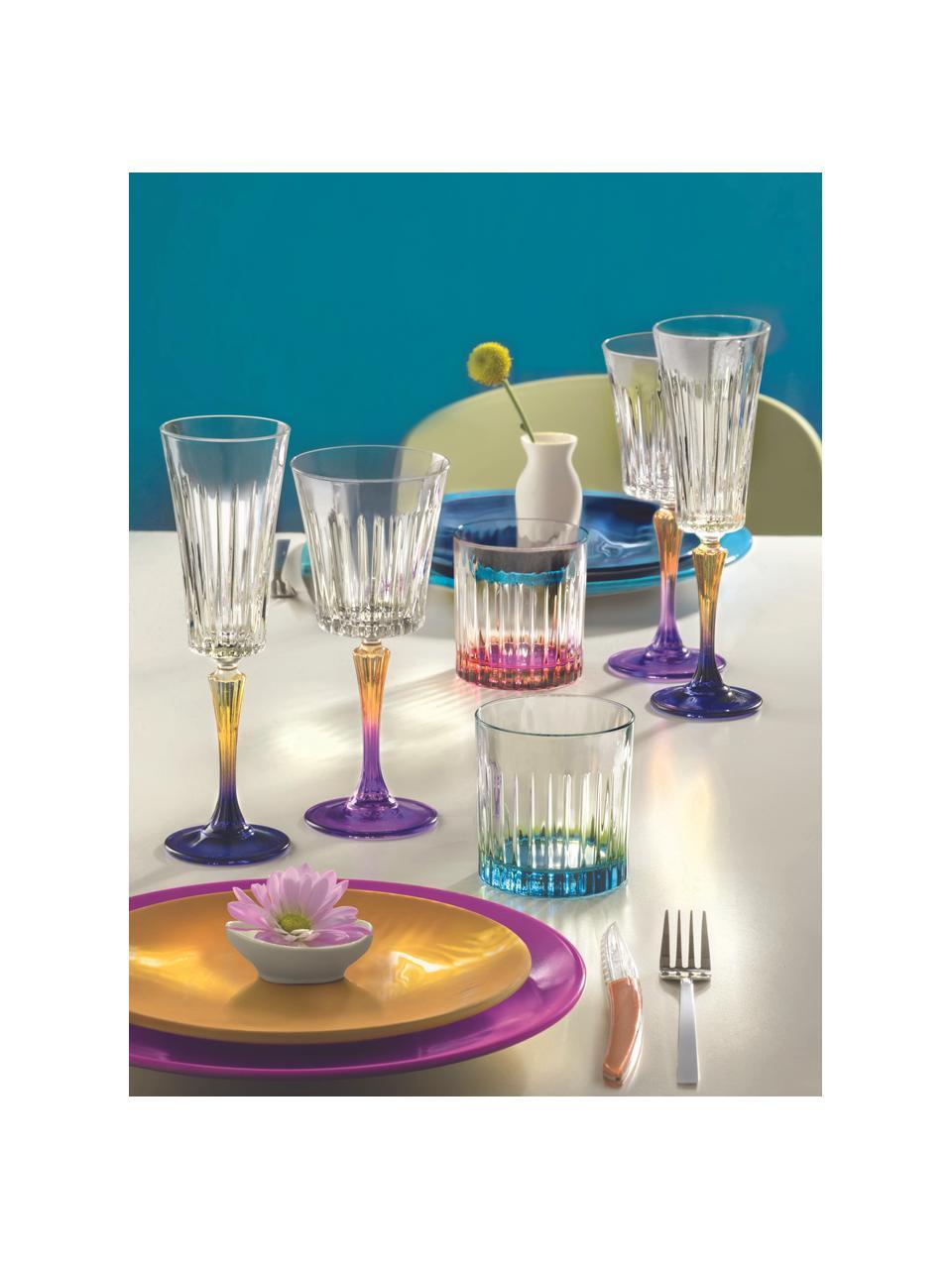 Kristall-Weißweingläser Gipsy mit zweifarbigem Stiel, 6 Stück, Luxion-Kristallglas, Transparent, Orange, Lila, Ø 9 x H 21 cm