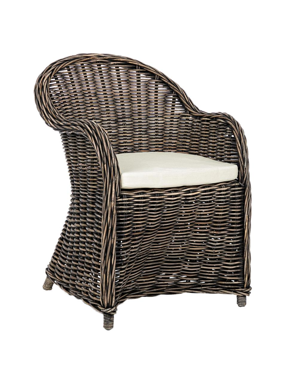 Rattan-Armlehnstuhl Martin mit Sitzauflage, Bezug: Baumwolle, Rattan, Schwarz, Weiß, 60 x 89 cm