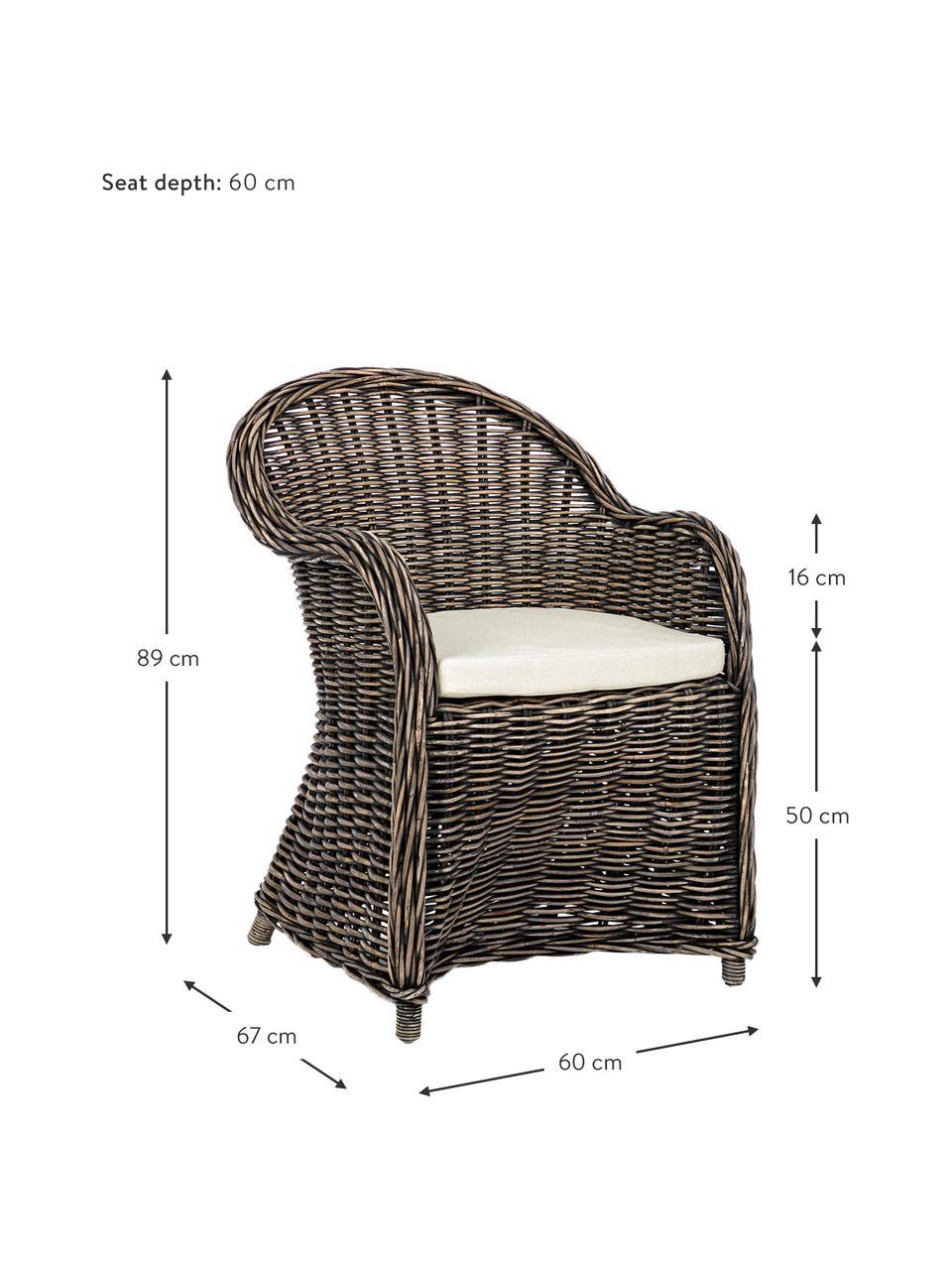 Fotel z podłokietnikami z rattanu z poduszką siedziska Martin, Tapicerka: bawełna, Rattan, czarny, biały, S 60 x G 67 cm