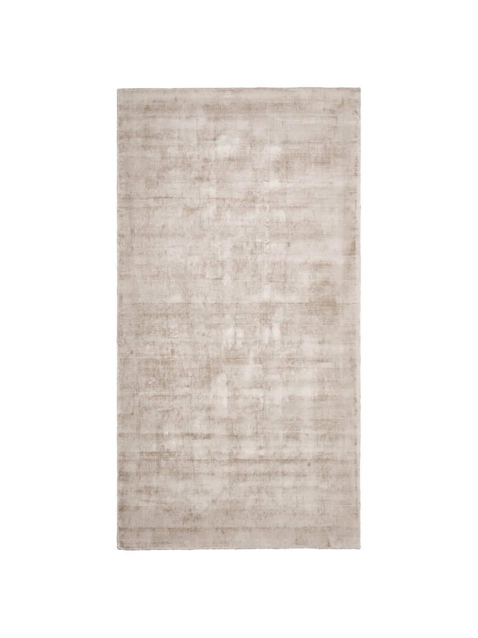 Alfombra artesanal de viscosa Jane, Parte superior: 100%viscosa, Reverso: 100%algodón, Beige, An 80 x L 150 cm (Tamaño XS)