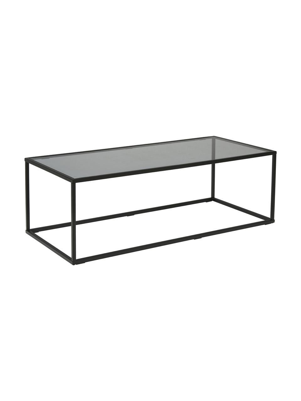 Table basse en verre Maya, Plateau: verre, teinté noir. Structure: noir, mat