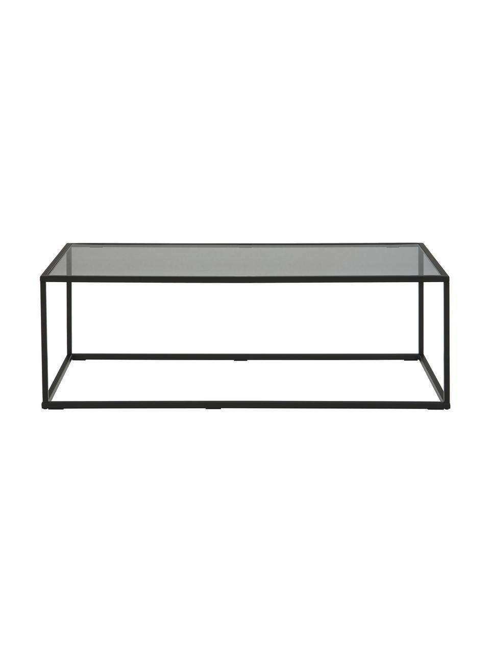 Tavolino da salotto con piano in vetro Maya, Struttura: metallo verniciato a polv, Piano: vetro tinto nero Struttura: nero opaco, Larg. 110 x Alt. 36 cm