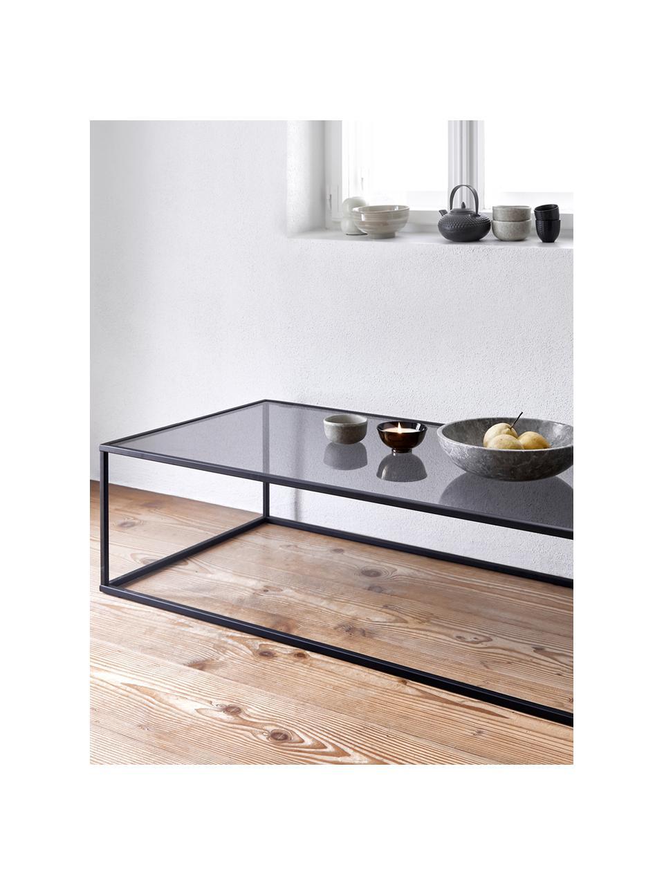 Stolik kawowy ze szklanym blatem Maya, Blat: szkło hartowane, Stelaż: metal malowany proszkowo, Blat: szkło, czarny barwiony Stelaż: czarny, matowy, S 110 x W 36 cm