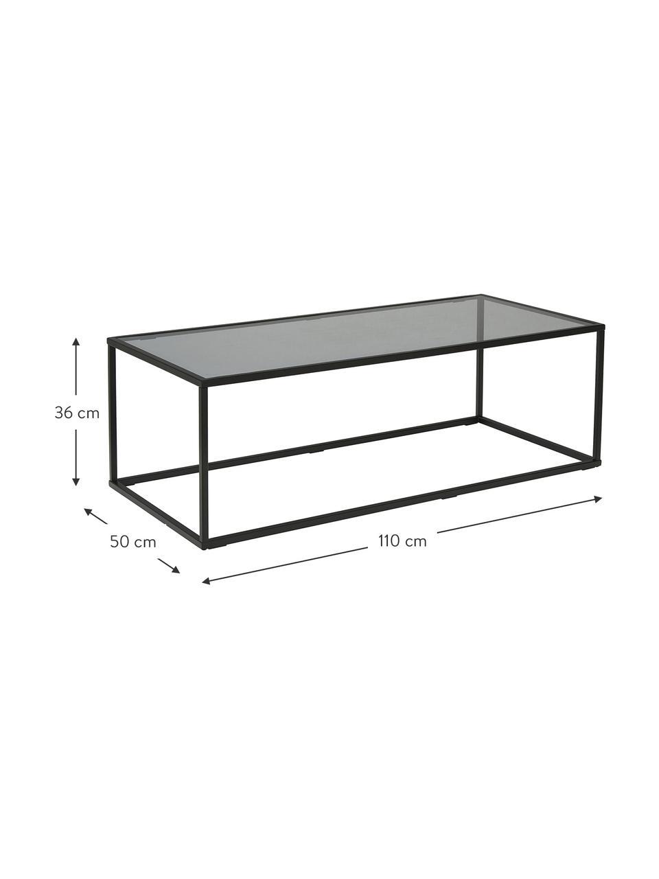 Couchtisch Maya mit Glasplatte, Tischplatte: Sicherheitsglas, Gestell: Metall, pulverbeschichtet, Glas schwarz getönt, Schwarz, 110 x 36 cm