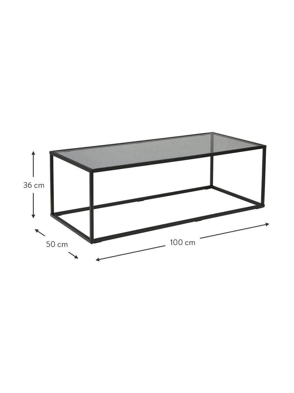 Salontafel Maya met glazen tafelblad, Tafelblad: veiligheidsglas, Frame: gepoedercoat metaal, Tafelblad: zwart getint glas. Frame: mat zwart, 110 x 36 cm