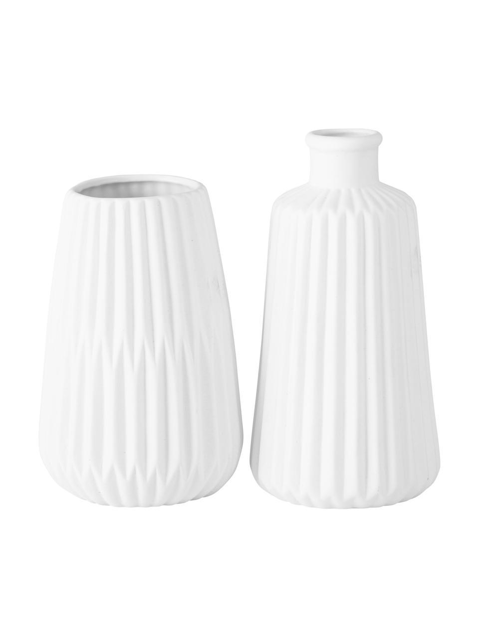 Set 2 vasi decorativi in porcellana Esko, Porcellana, Bianco, Ø 8 x Alt. 17 cm