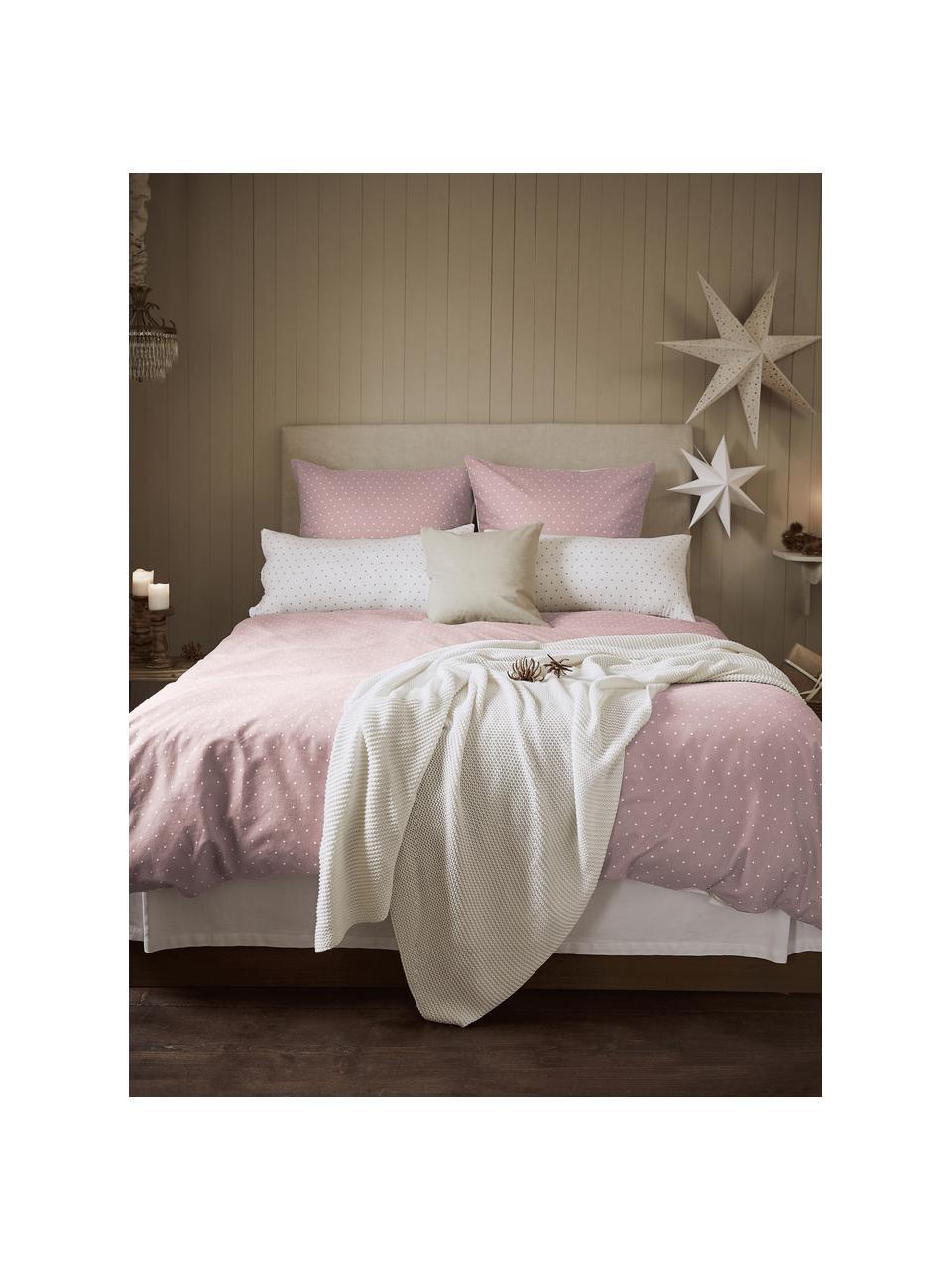 Dwustronna pościel z flaneli Betty, Brudny różowy, biały, 135 x 200 cm + 1 poduszka 80 x 80 cm