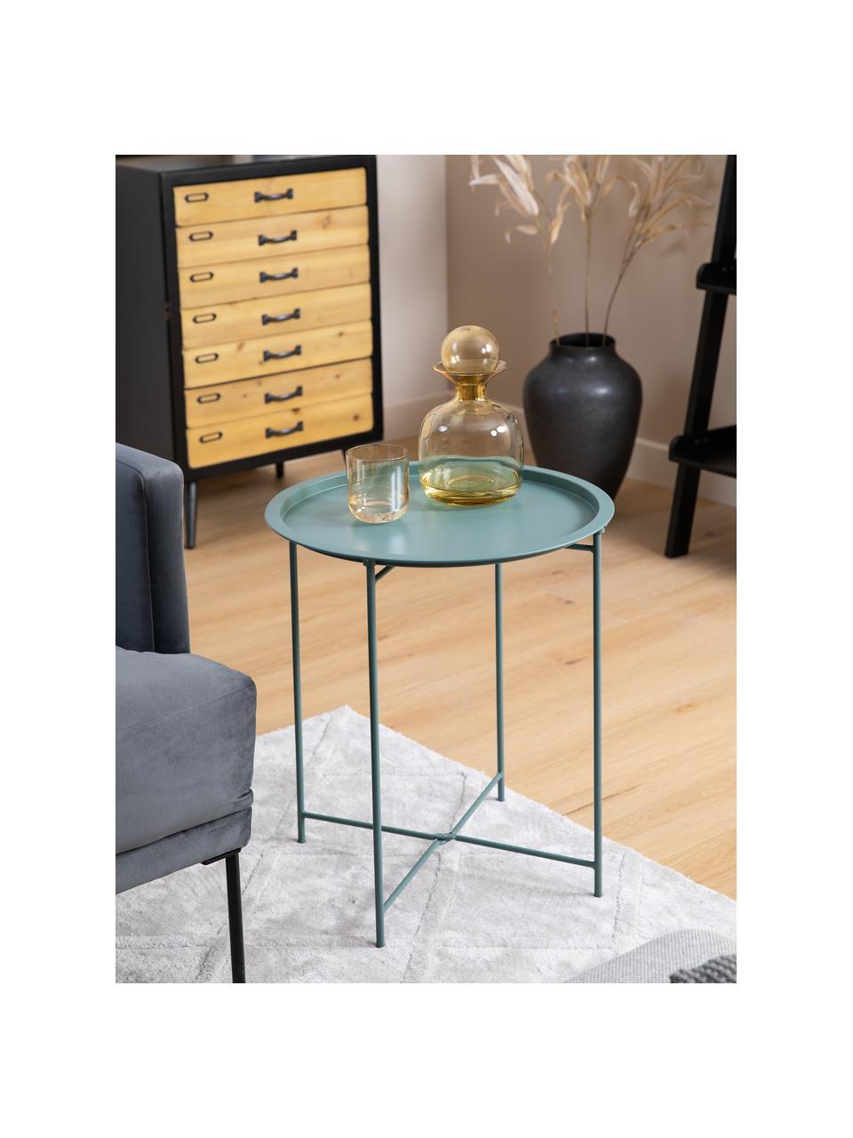 Tablett-Tisch Sangro aus Metall, Metall, pulverbeschichtet, Grün, Ø 46 x H 52 cm