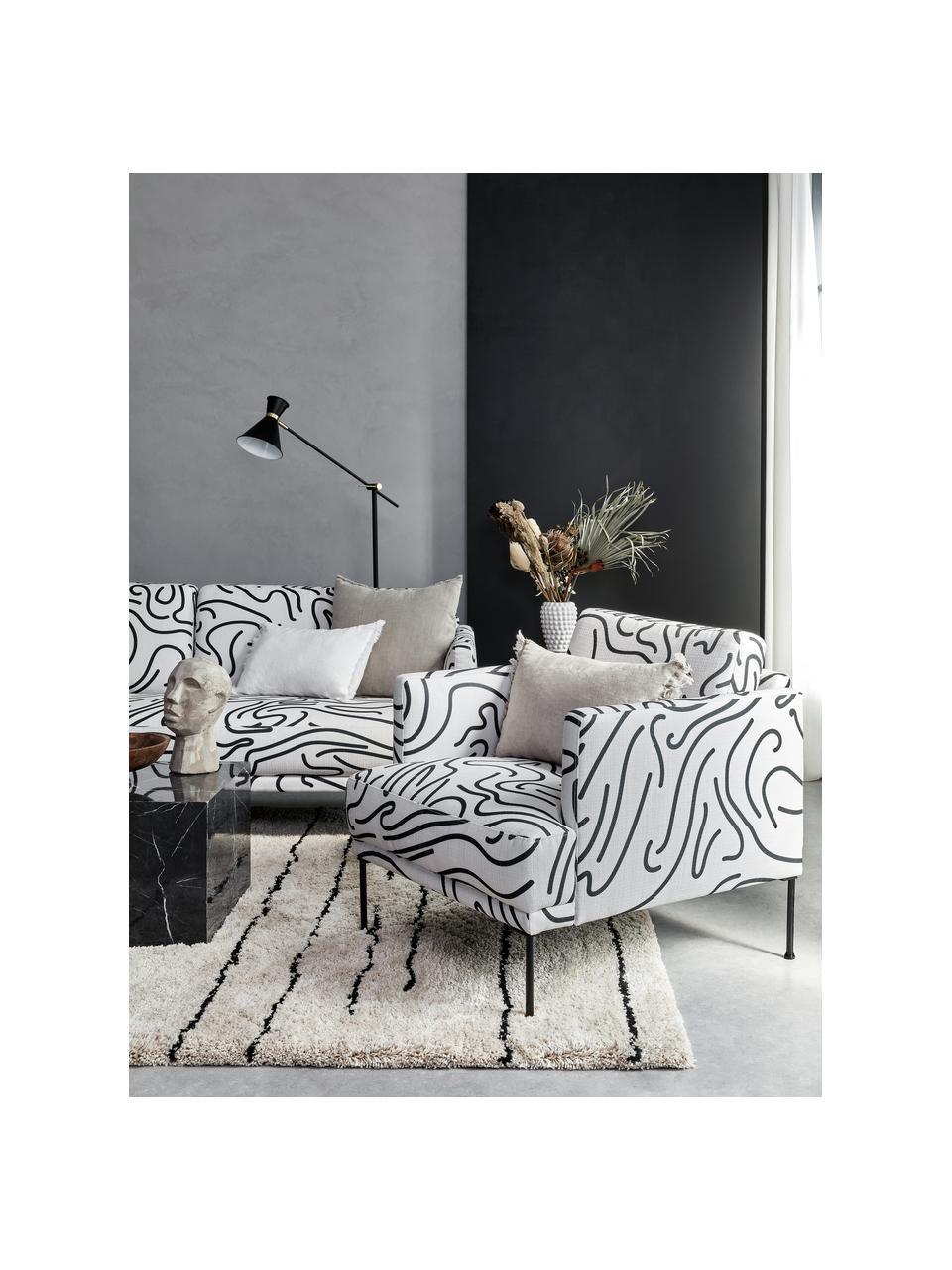 Gemusterter Sessel Fluente mit Metall-Füßen, Bezug: 100% Polyester Der hochwe, Gestell: Massives Kiefernholz, Füße: Metall, pulverbeschichtet, Webstoff Weiß/Schwarz, B 74 x T 85 cm