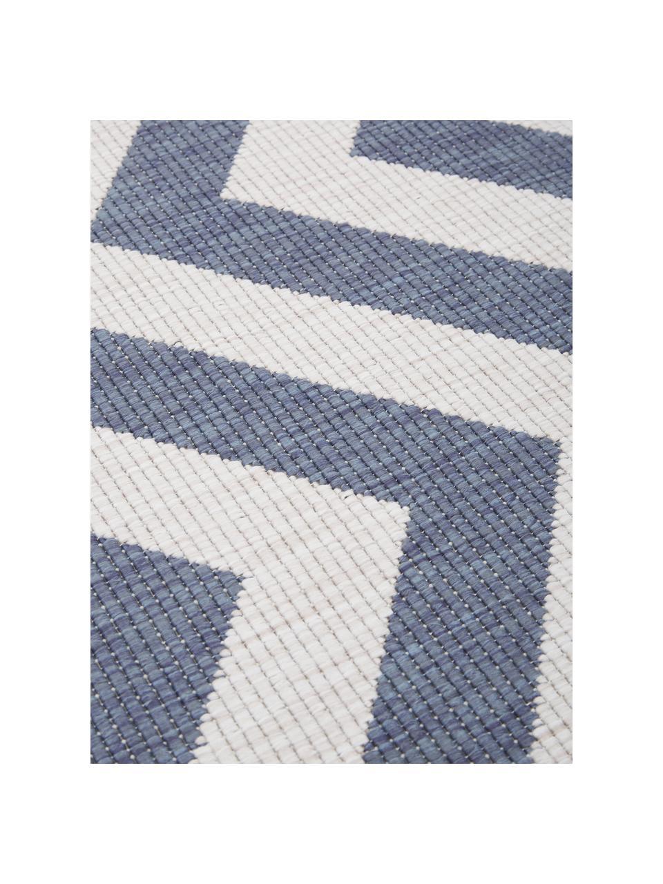 Dubbelzijdig in- & outdoor vloerkleed Palma, met zigzag patroon, Blauw, crèmekleurig, B 200 x L 290 cm (maat L)