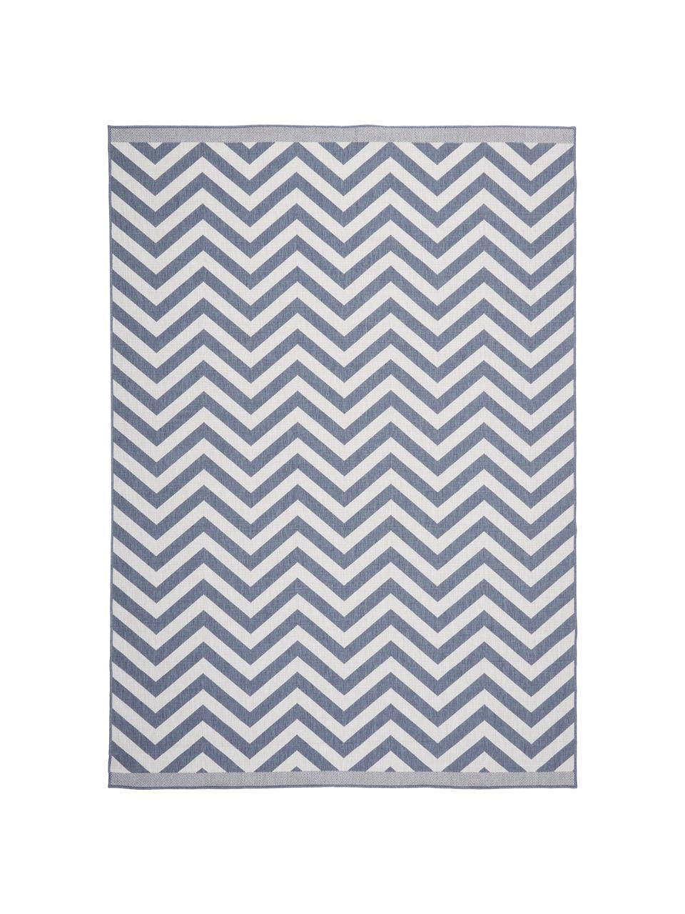 In- & Outdoor-Teppich Palma mit Zickzack-Muster, beidseitig verwendbar, 100% Polypropylen, Blau, Creme, B 200 x L 290 cm (Größe L)