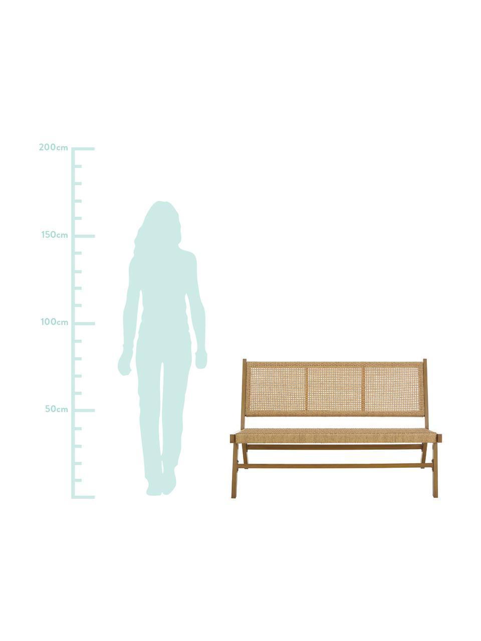 Tuinbank Palina met kunststoffen vlechtwerk in houtoptiek, Frame: gepoedercoat metaal, Zitvlak: kunststoffen vlechtwerk, Bruin, 121 x 75 cm