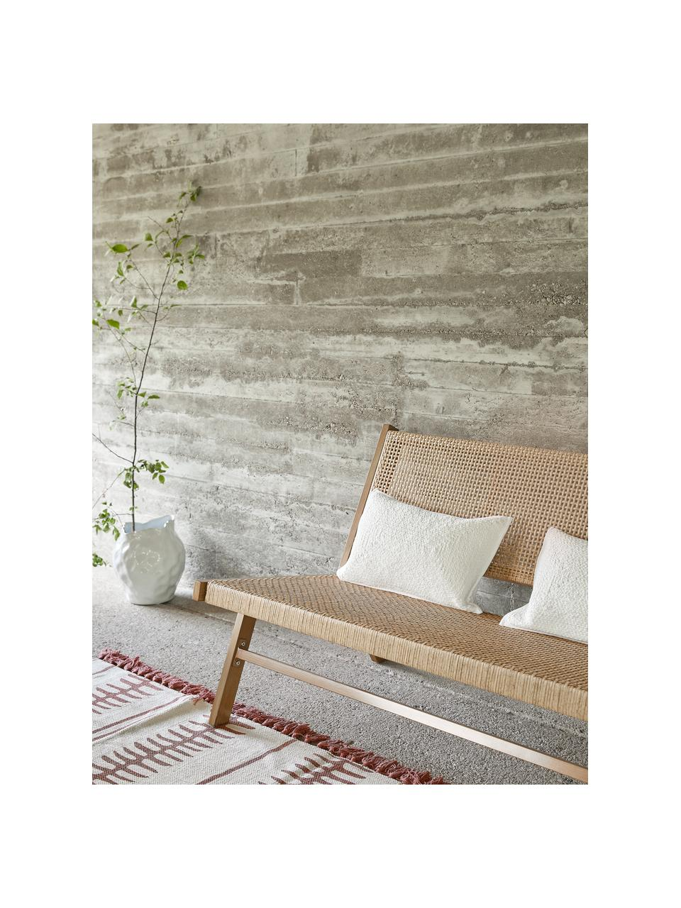 Panchina da giardino intrecciata effetto legno Palina, Struttura: metallo verniciato a polv, Seduta: rete in plastica, Marrone, Larg. 121 x Alt. 75 cm