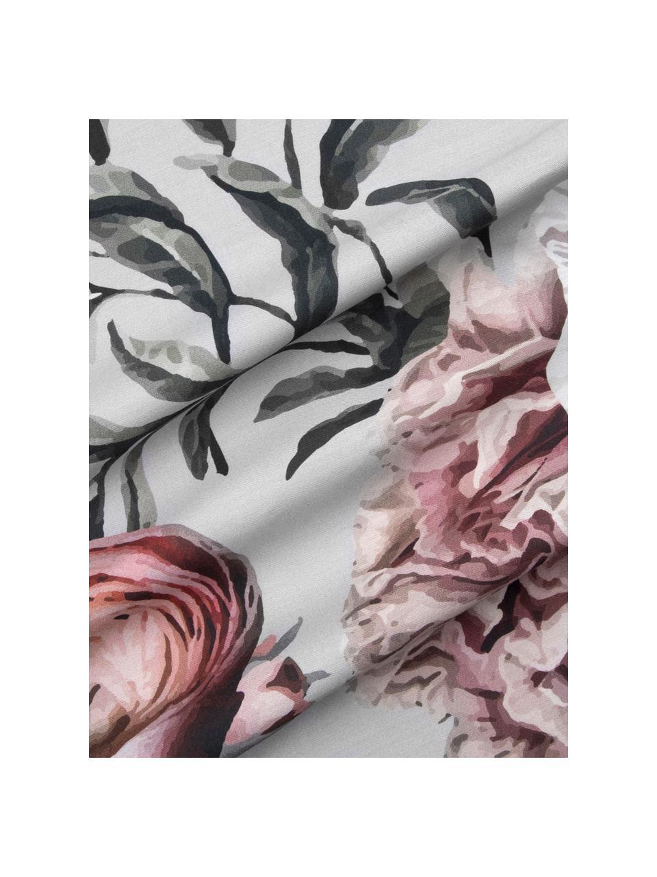 Baumwollsatin-Kopfkissenbezüge Blossom mit Blumen-Print, 2 Stück, Webart: Satin Fadendichte 210 TC,, Mehrfarbig, Grau, 40 x 80 cm