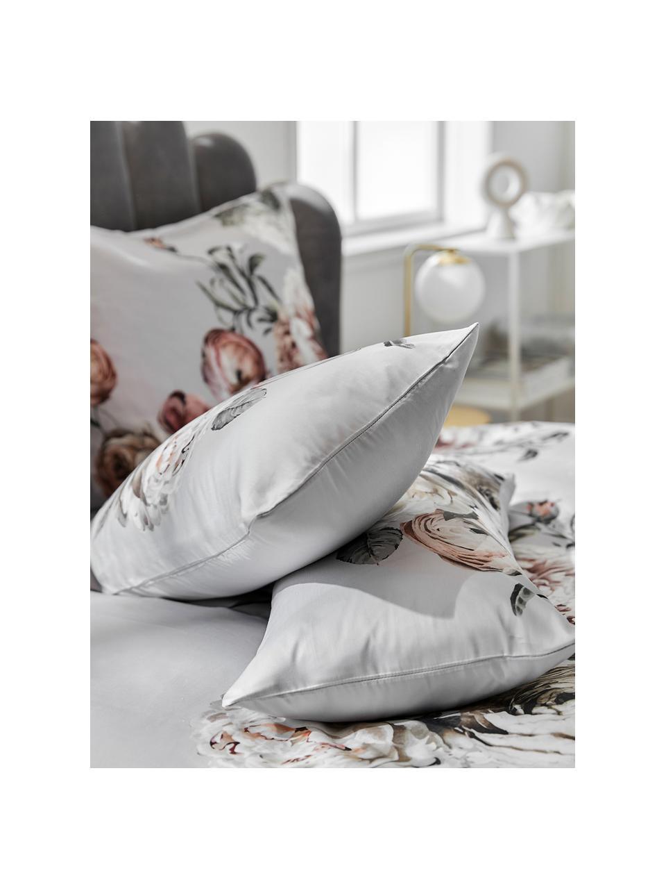 Baumwollsatin-Kissenbezüge Blossom mit Blumen-Print, 2 Stück, Webart: Satin Fadendichte 210 TC,, Mehrfarbig, Grau, 40 x 80 cm