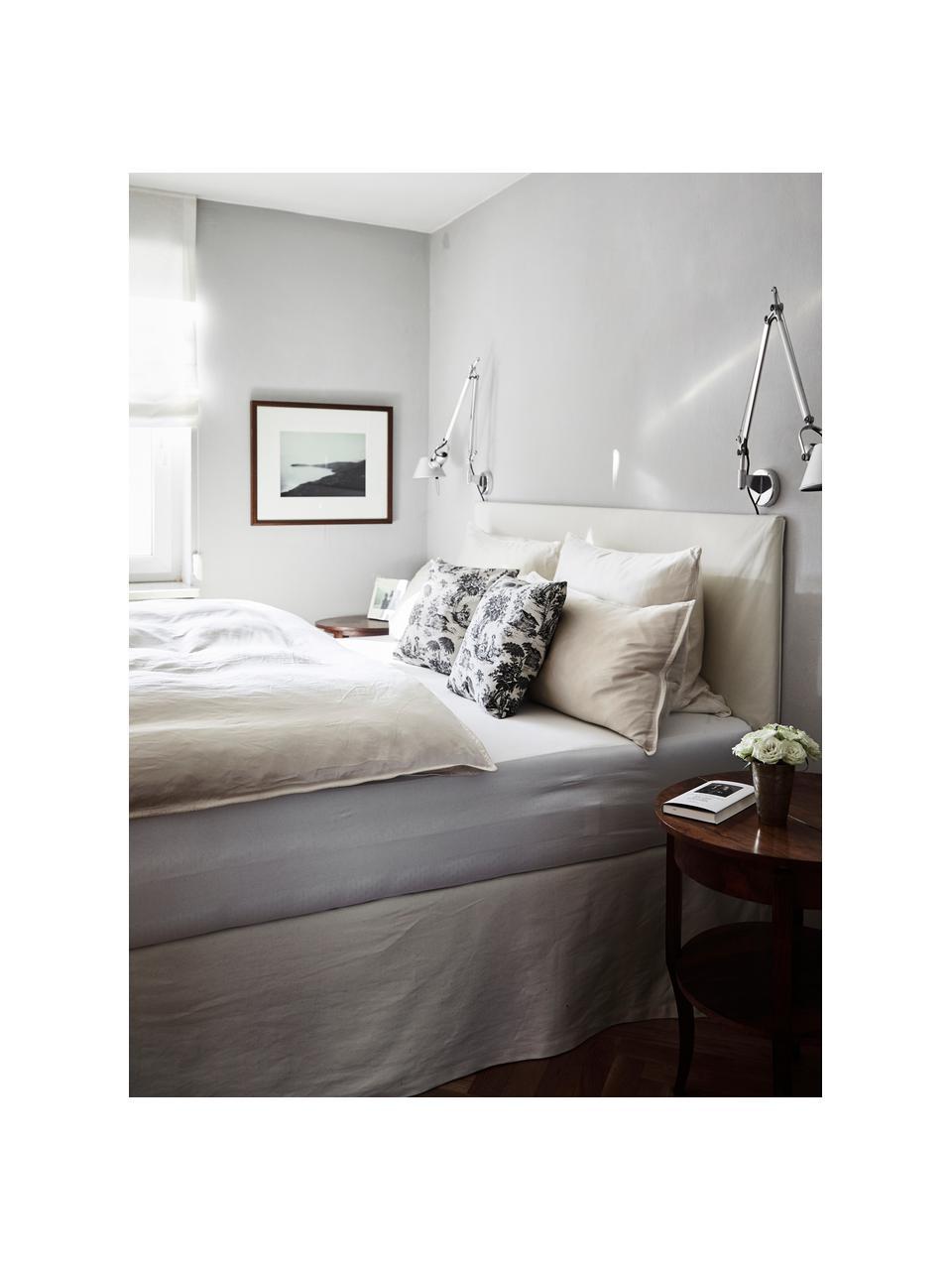 Łóżko tapicerowane z miejscem do przechowywania Feather, Korpus: lite drewno sosnowe i pły, Tapicerka: poliester (tkanina strukt, Ecru, S 180 x D 200 cm