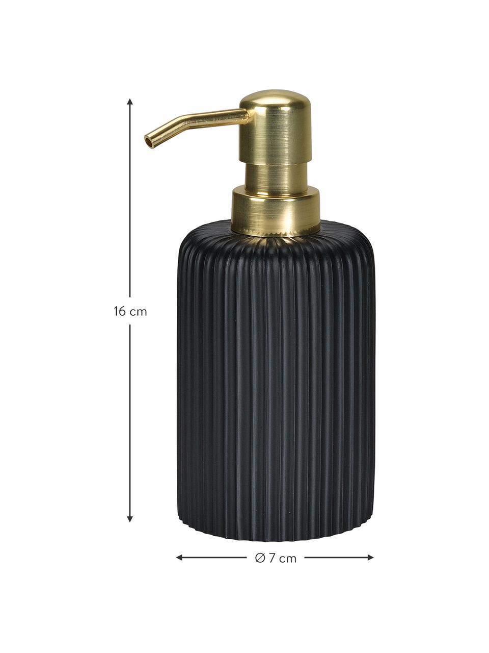 Dispenser sapone Blackheath, Contenitore: poliresina, Testa della pompa: materiale sintetico, Nero ottonato, Ø 7 x Alt. 16 cm