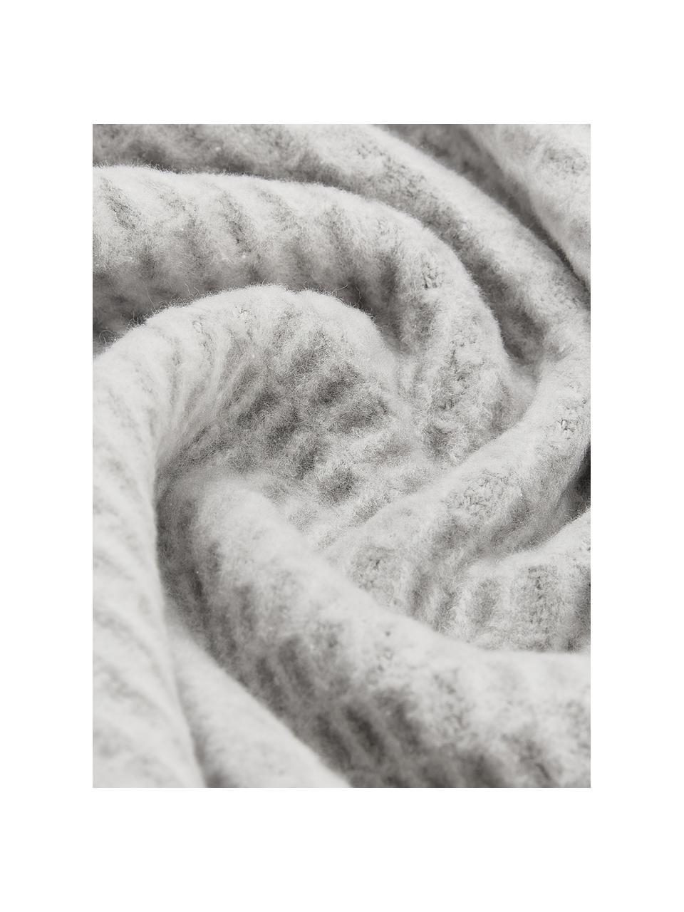 Einfarbiges Waffelpiqué-Plaid Sara in Hellgrau, 50% Baumwolle, 50% Acryl, Steingrau, 140 x 180 cm