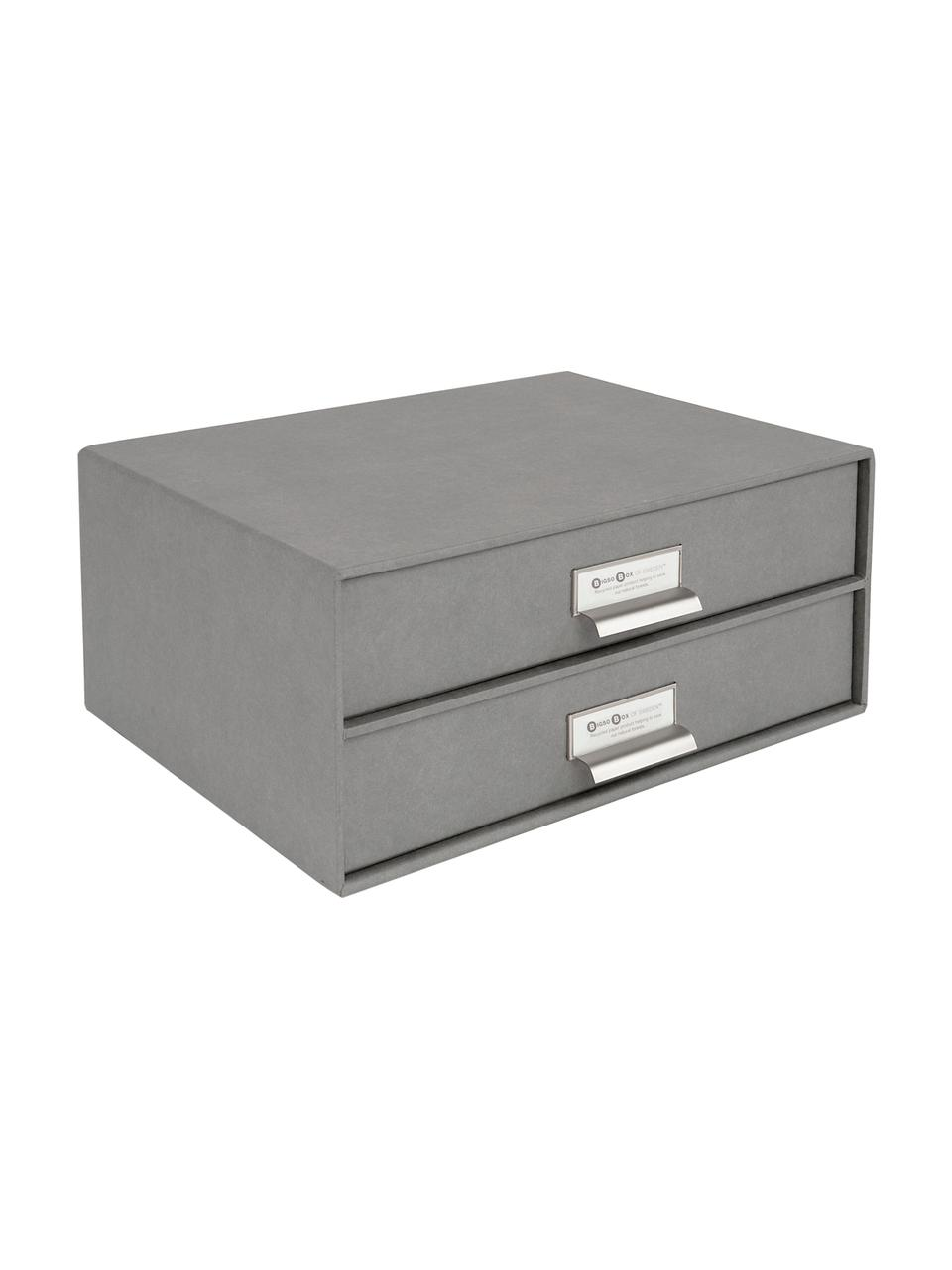 Organizer da ufficio Birger, Organizer: solido cartone laminato, Organizer all'esterno: grigio chiaro Organizer all'interno: bianco, Larg. 33 x Alt. 15 cm